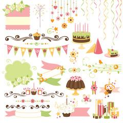 Birthday celebration design elements collection