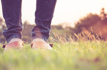 standing on a field