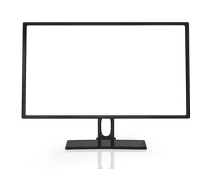Сomputer display with white screen, isolated on white backgroun