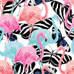 flamingo and butterflies pattern