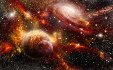 space in red orange tones