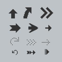 Set of black pixel arrows