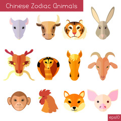 Set of flat chinese zodiac animals
