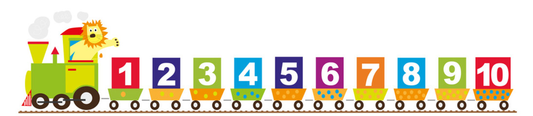 cartoon train with numbers 1-10/ educational vector illustration for ...