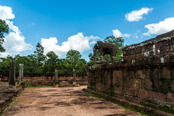 elephant sculpture in the archaeological place of the oriental mebon in siam reap, cambodia