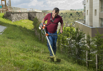 Gardener mowing lawn with string lawn trimmer.