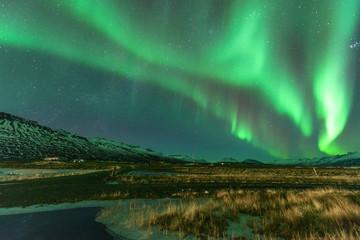 Aurora borealis, Jokulsarlon lagoon, Iceland