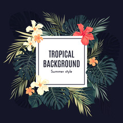 Summer tropical hawaiian background with palm tree leavs and