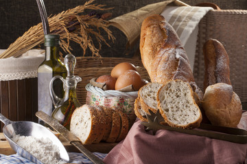 bread set scene showing many kind of bread put in basket together