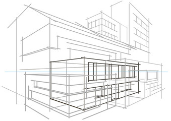 Linear architectural sketch concept abstract building light grey