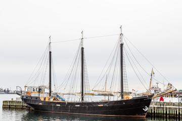 Black Three Masted Schooner in Halifax