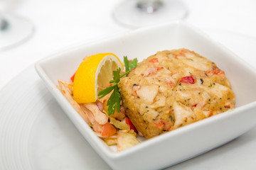 Crab Cake and Lemon Wedge