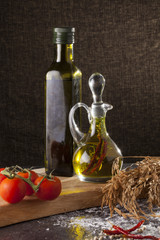 olive oil an isolate bottles of olive oil in decorated scene