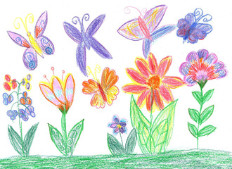 Child drawing butterfly and flowers nature