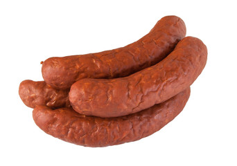 pile meat flavour sausages on white
