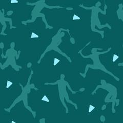 Badminton sports pattern. Seamless vector background