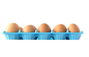 Brown hen's eggs in an opened box