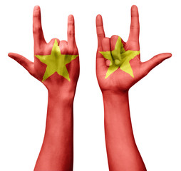 Hands making I love you sign, Vietnam flag painted, multi purpose concept - isolated on white background, illustration.