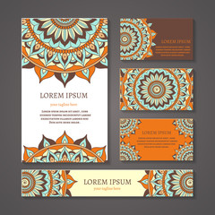 Banners and business cards with arabic or indian round pattern