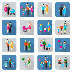 Family and people flat icons