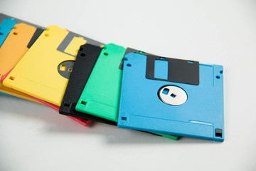 Floppy Disk magnetic on white background.