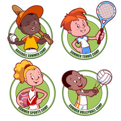 Logo for the kids sports camp. Vector illustration