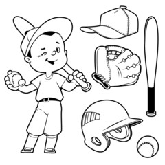 Cartoon boy playing baseball. Baseball equipment. Outline