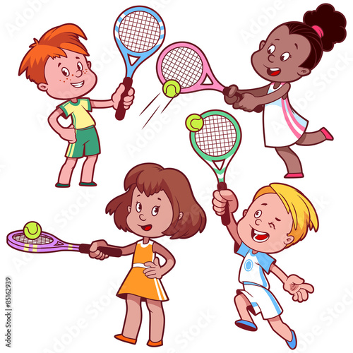 """Cartoon kids playing tennis. "" Stock image and royalty-free vector files on Fotolia.com - Pic ..."