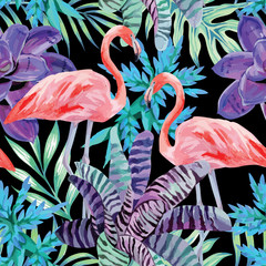 flamingo watercolor and exotic plants pattern