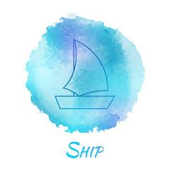 Sea Ship Marine Watercolor Concept