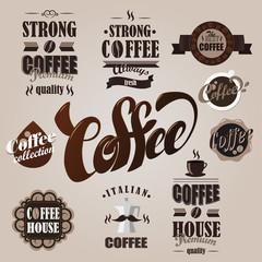 Fotobehang Vintage Poster Coffee logotypes set. Design elements
