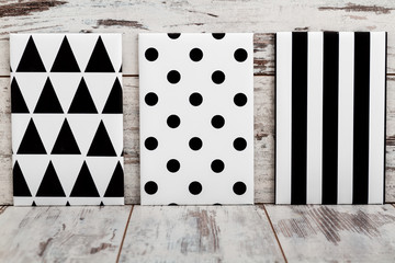 Black and White Geometric Canvas