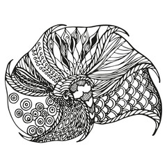 Isolated zentangle ornamental sell