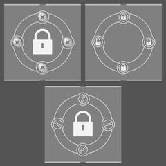 Set of three flat frames and padlock