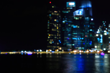 Singapore city night lights blurred bokeh