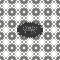 Geometric line monochrome lattice seamless arabic pattern