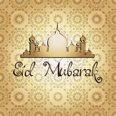 Illustration of Eid Mubarak background with mosque. CONTAINS Seamless pattern on background.