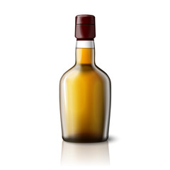 Blank realistic whiskey bottle isolated on grey background with