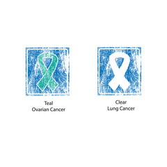 Cancer ribbons stamp vintage 4