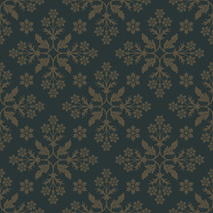 Gold seamless pattern on dark green background with floral elements. Design for wallpaper and fabric. Editable vector file.