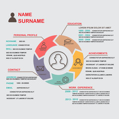 resume (cv) template infographics background and element