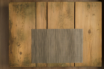 Picnic table/Silver mat on wooden picnic table