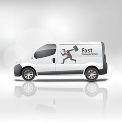 White delivery van vector illustration