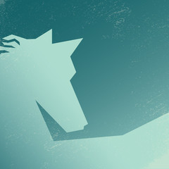 Abstract low polygonal horse silhouette on grunge background
