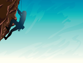 Sport - Rock climber and sky.