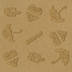 Drawings in the sand, sand beach