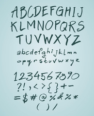 Vector hand drawn doodle font with numbers