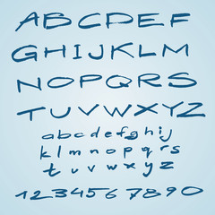 Vector wide hand drawn font