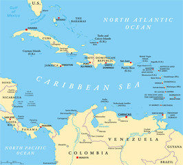 Caribbean political map with capitals, national borders, important cities, rivers and lakes. English labeling and scaling. Illustration.