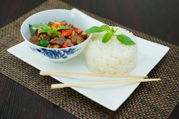 boeuf au poivron et riz